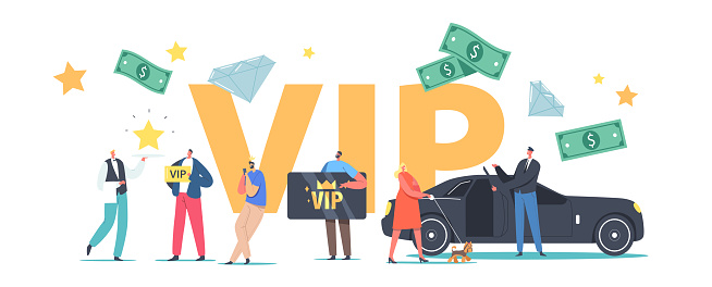 VIP Persons Lifestyle Concept. Luxury Characters with Gold Cards Premium Service, Woman with Dog Enter Limousine