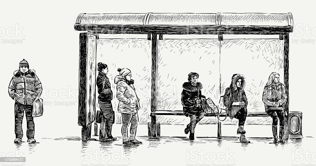 Personnes sur un arrêt de bus - Illustration vectorielle