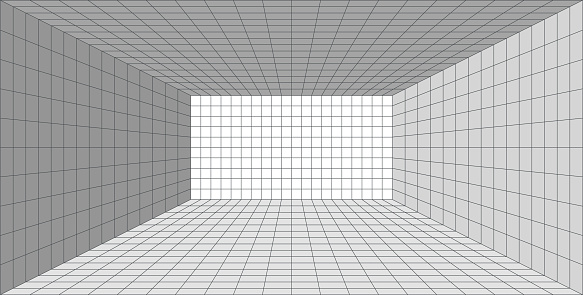 Perspective 3D Grid Room. Screen Graph Paper Sheet. Texture Template. Vector illustration