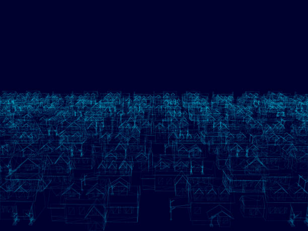 Perspective 3D of building wireframe - Vector illustration Perspective 3D of building wireframe. Background with blue frame buildings - Vector illustration website wireframe stock illustrations
