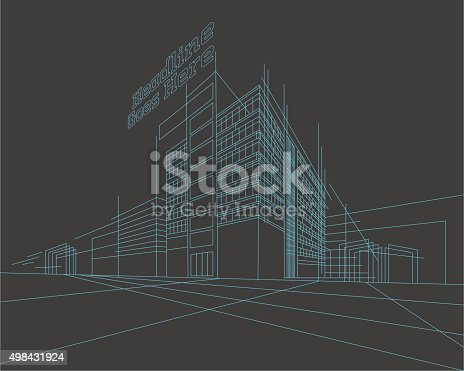 istock Perspective 3d Wireframe of building 498431924