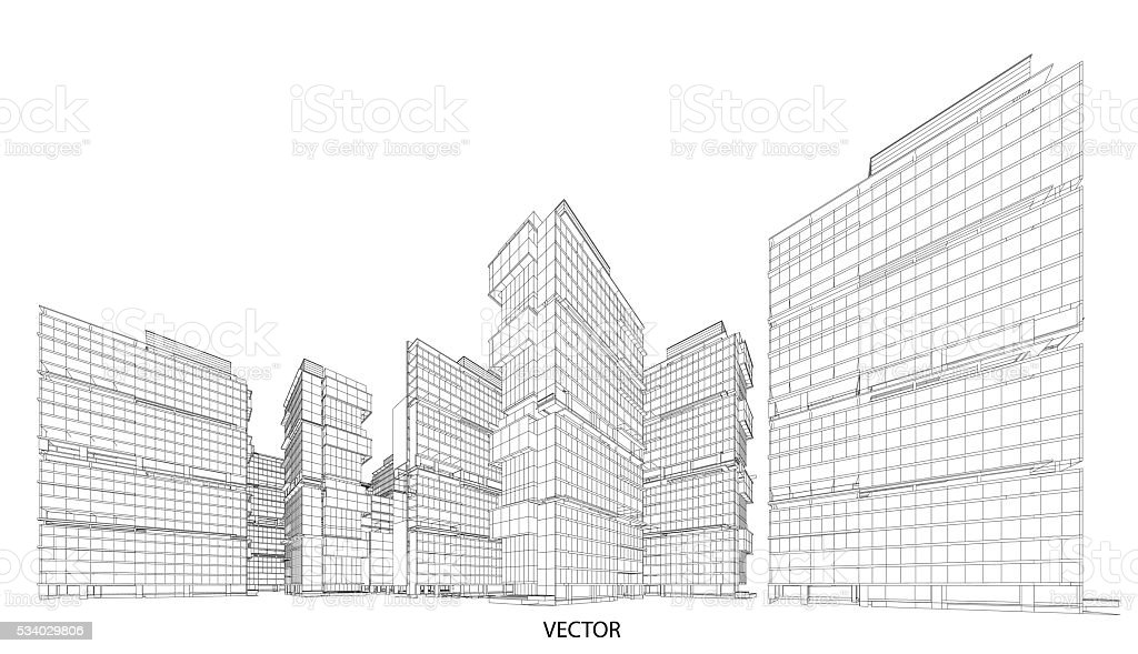 Perspective 3d wireframe of building stock vector art more perspective 3d wireframe of building royalty free perspective 3d wireframe of building stock vector art malvernweather Images