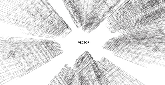 Perspective 3d Wireframe of building clipart