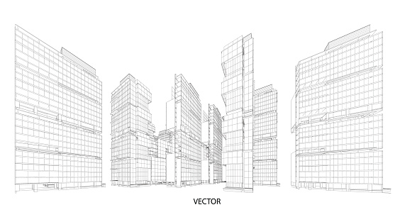 Perspective 3d Wireframe Of Building Stock Vector Art