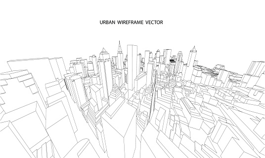 Perspective 3d Wireframe Of City View Stock Illustration