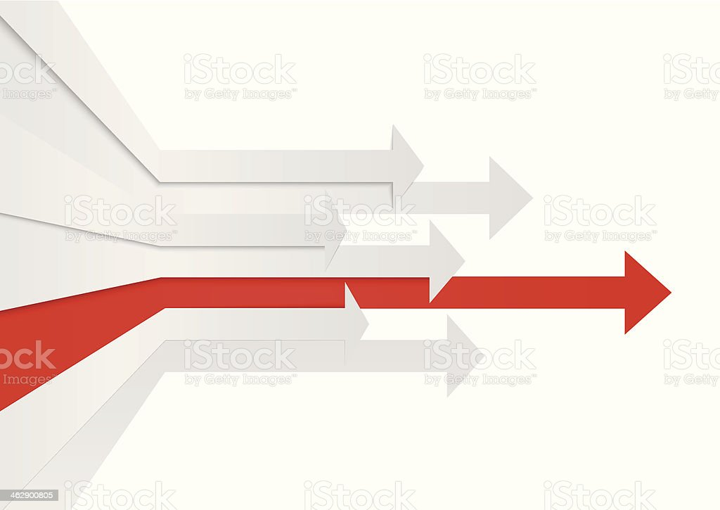 Perspective arrows leadership concept vector art illustration