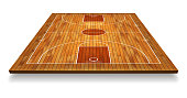 Perspective Basketball court floor with line on wood texture background. Vector illustration