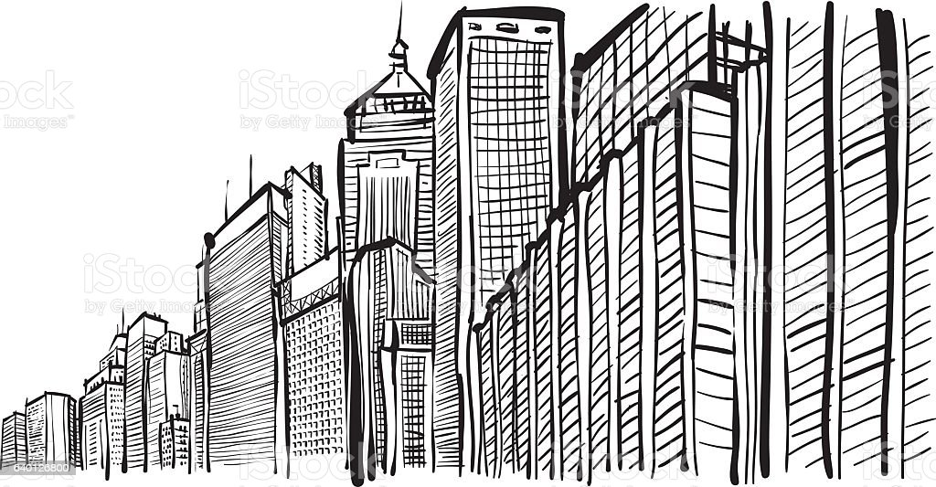 Perspective Buildings Doodle Sketch Stock Vector Art U0026 More Images Of Apartment 640126800 | IStock