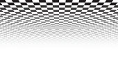 Perspective black and white grid. Checkered surface. Vector illustration.