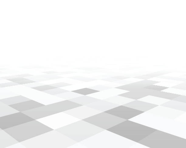 Perspective checkered surface Perspective grey and white grid. Checkered surface. Vector illustration. diminishing perspective stock illustrations