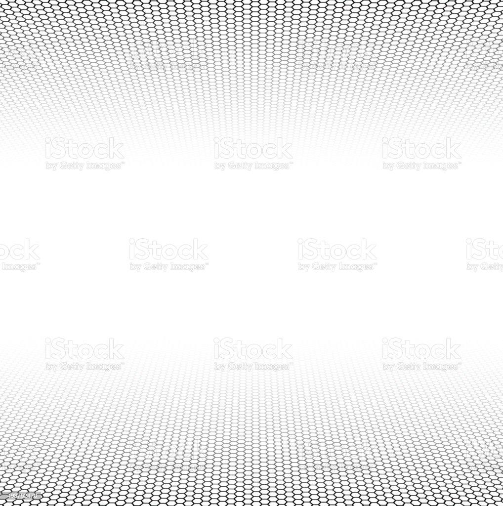 Perspective grid hexagonal surface vector art illustration