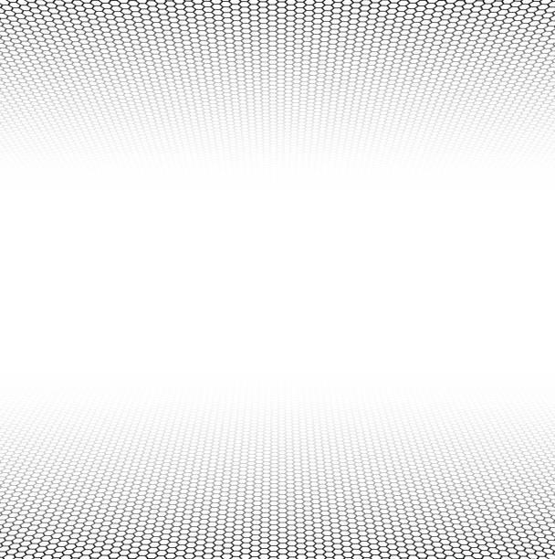 perspektive grid sechseckige oberfläche - geometriestunde grafiken stock-grafiken, -clipart, -cartoons und -symbole