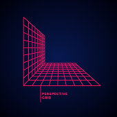 Perspective grid on a dark background