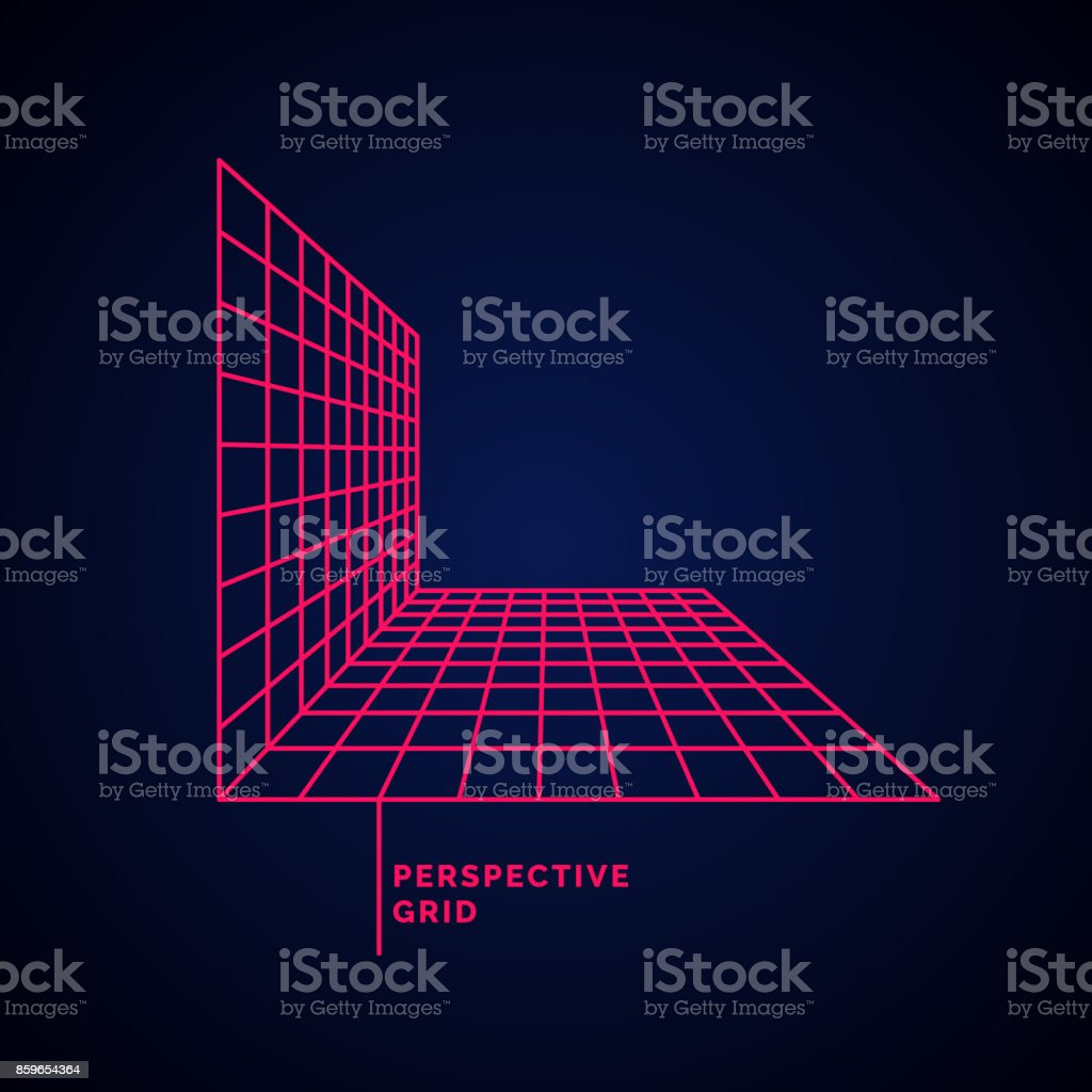 Perspective grid on a dark background vector art illustration