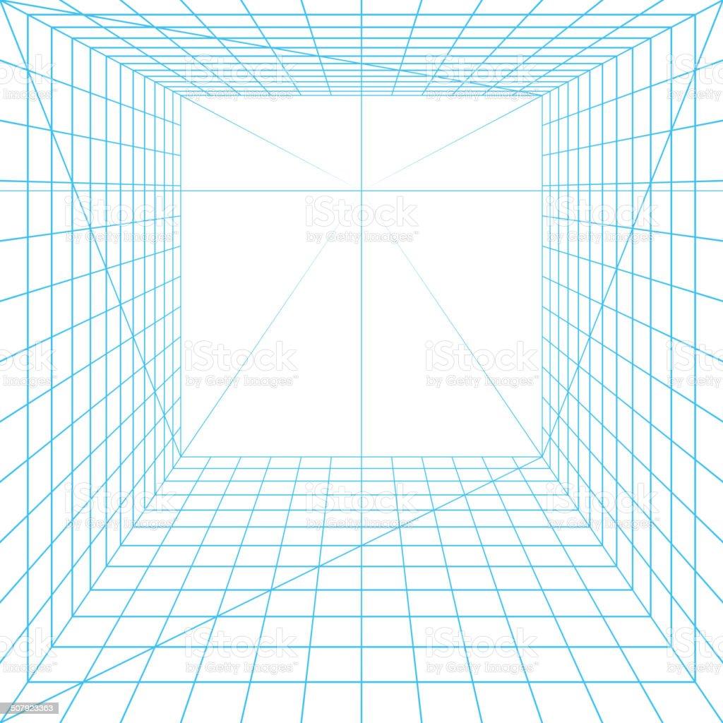 Perspective grid vector art illustration
