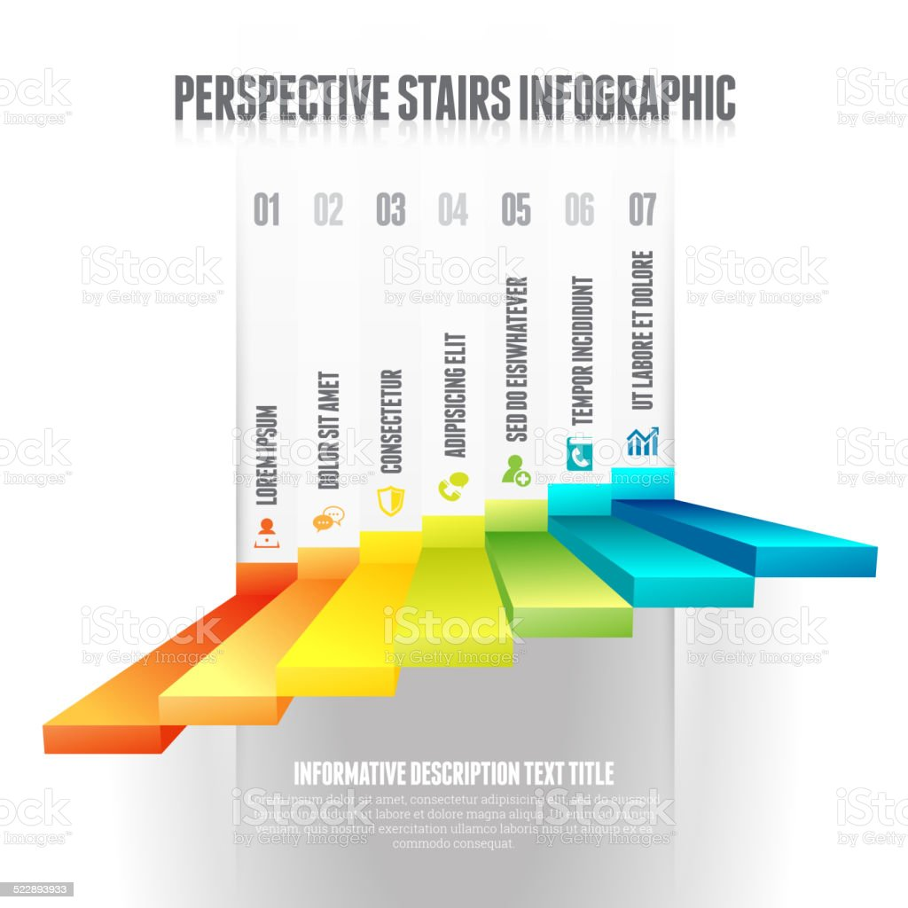 Perspective Stairs Infographic vector art illustration