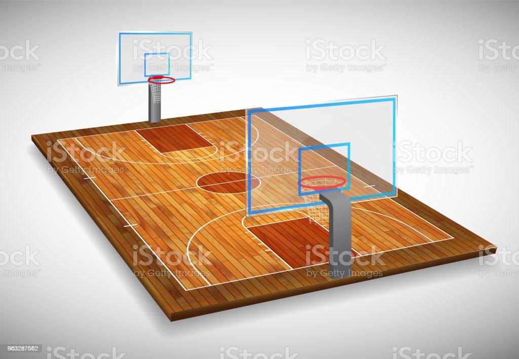 Perspective vector illustration of hardwood Basketball court field...