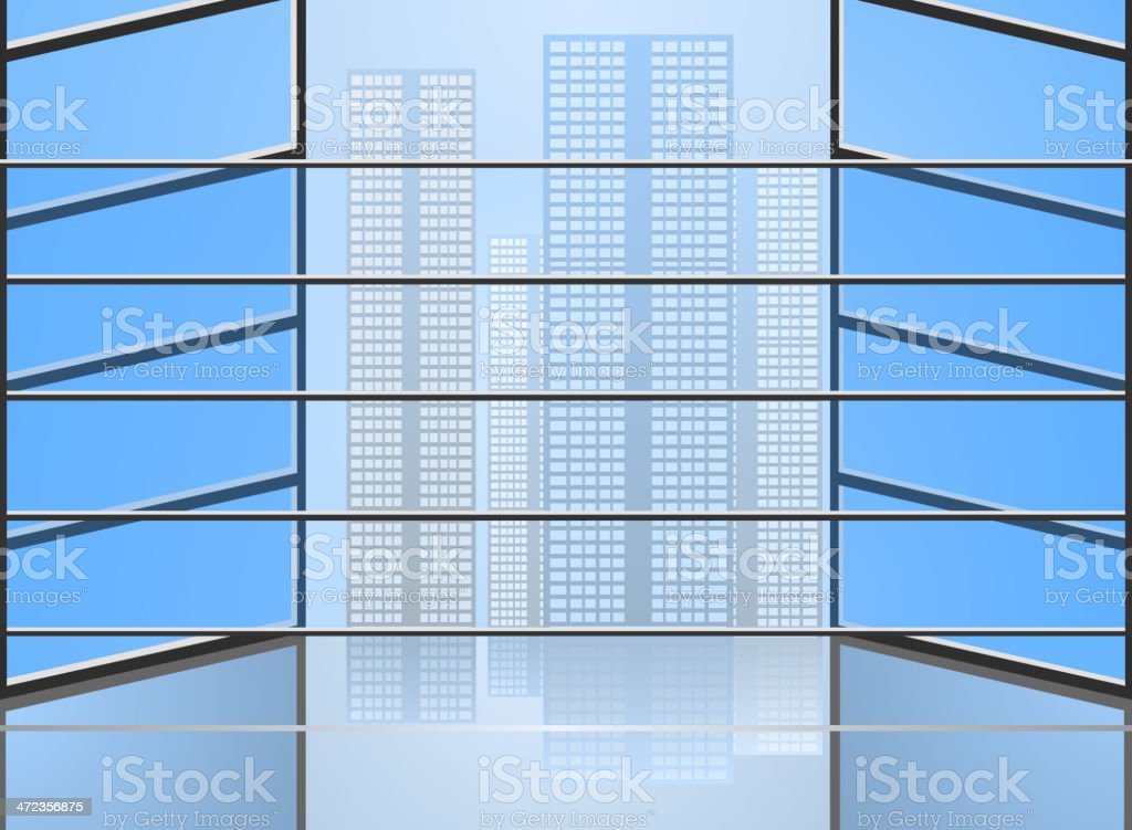 Perspective view blue glass royalty-free stock vector art