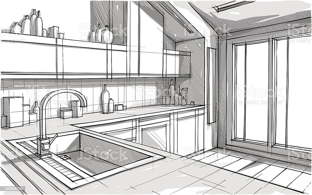 Perspective view sketch of a kitchen in greyscale vector art illustration