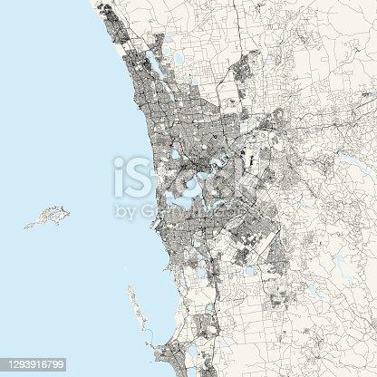 istock Perth, Australia Vector Map 1293916799