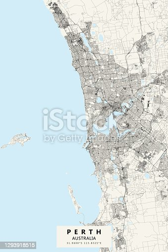 istock Perth, Australia Vector Map 1293918515