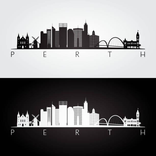 perth skyline and landmarks silhouette, black and white design, vector illustration. - western australia stock illustrations