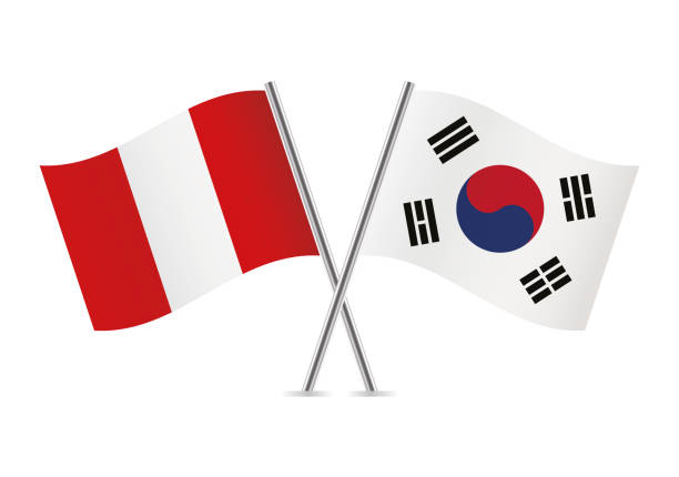 ペルー、韓国のフラグです。ベクトルの図。 - 韓国の国旗点のイラスト素材/クリップアート素材/マンガ素材/アイコン素材