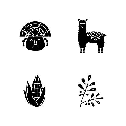 Peru black glyph icons set on white space. Andean country features. Alpaca, incas, corn, coca. Incas history, and life traditions. Peruvian customs. Silhouette symbols. Vector isolated illustration