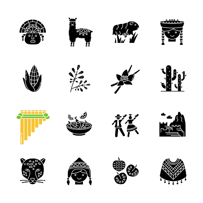 Peru black glyph icons set on white space. Peruvian sights, culture, nature, cuisine. Traveling in Latin America. Alpaca, guinea pig, siku, ceviche. Silhouette symbols. Vector isolated illustration