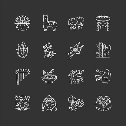 Peru chalk white icons set on black background. Peruvian sights, culture, nature, cuisine. Alpaca, guinea pig, siku, poncho, cherimoya, ceviche, jaguar. Isolated vector chalkboard illustrations