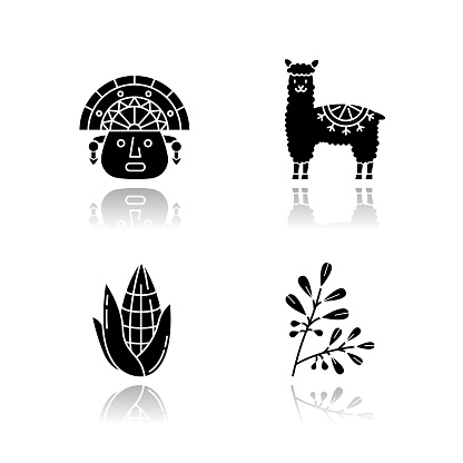 Peru drop shadow black glyph icons set. Andean country features. Alpaca, incas, corn, coca. Incas history, and life traditions. Peruvian customs. Isolated vector illustrations on white space