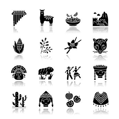 Peru drop shadow black glyph icons set. Peruvian sights, culture, nature, cuisine. Alpaca, guinea pig, siku, poncho, cherimoya, ceviche, jaguar. Isolated vector illustrations on white space
