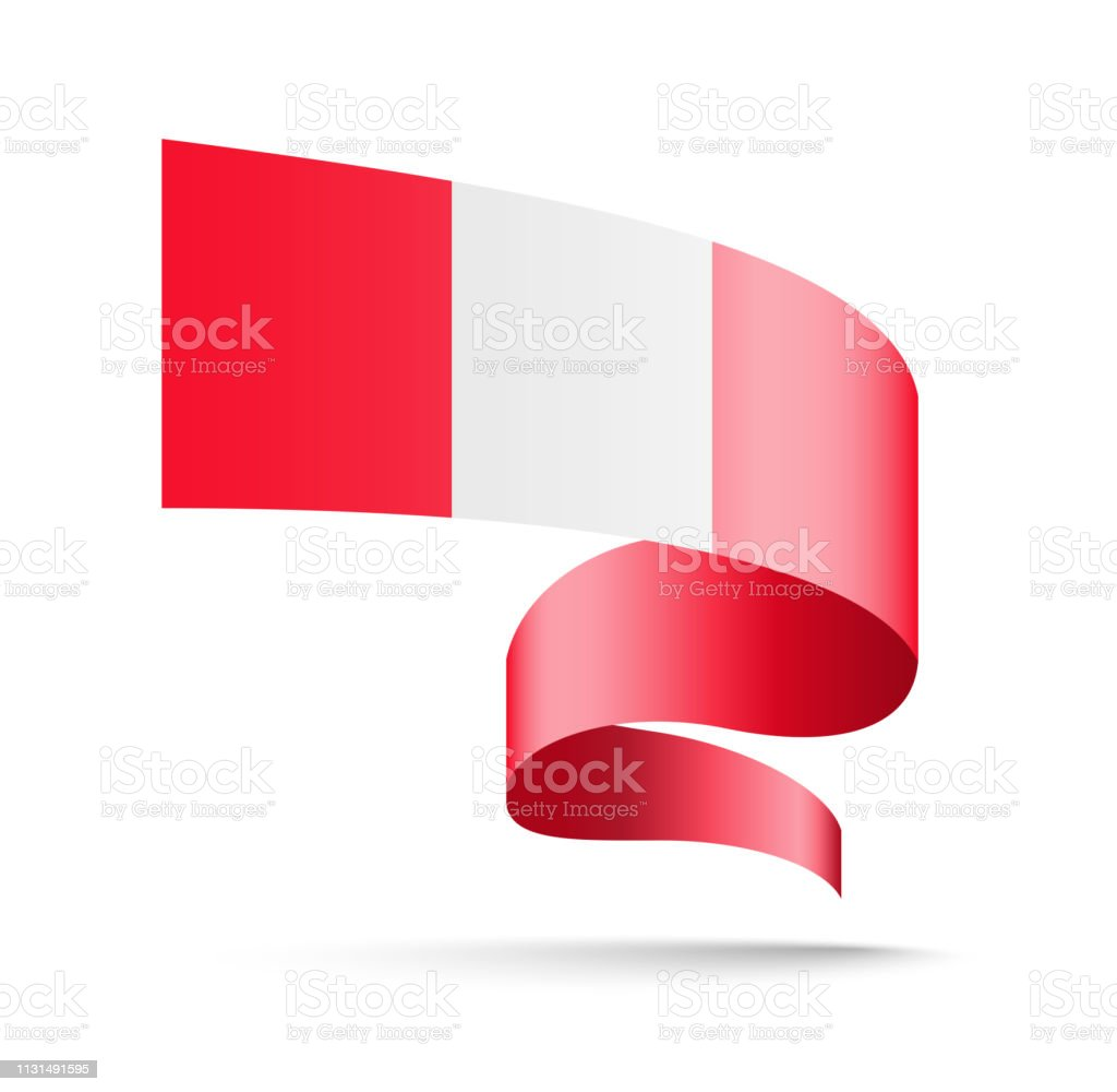 Peru flag in the form of wave ribbon. vector art illustration
