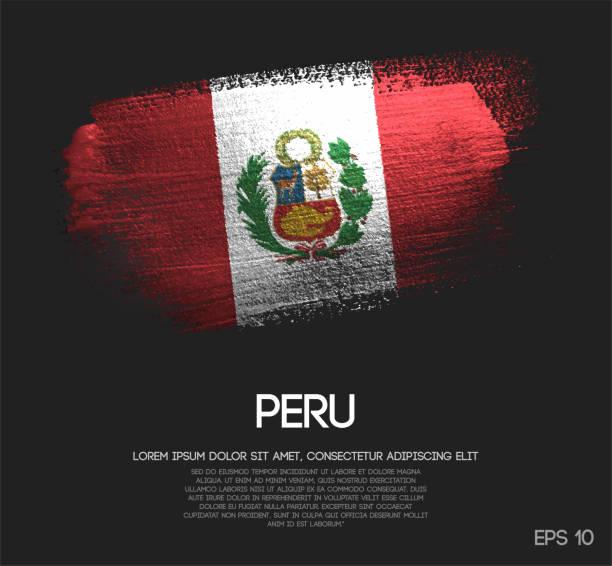 ilustrações, clipart, desenhos animados e ícones de bandeira do peru feita de glitter sparkle pincel tinta vector - bandeira do peru