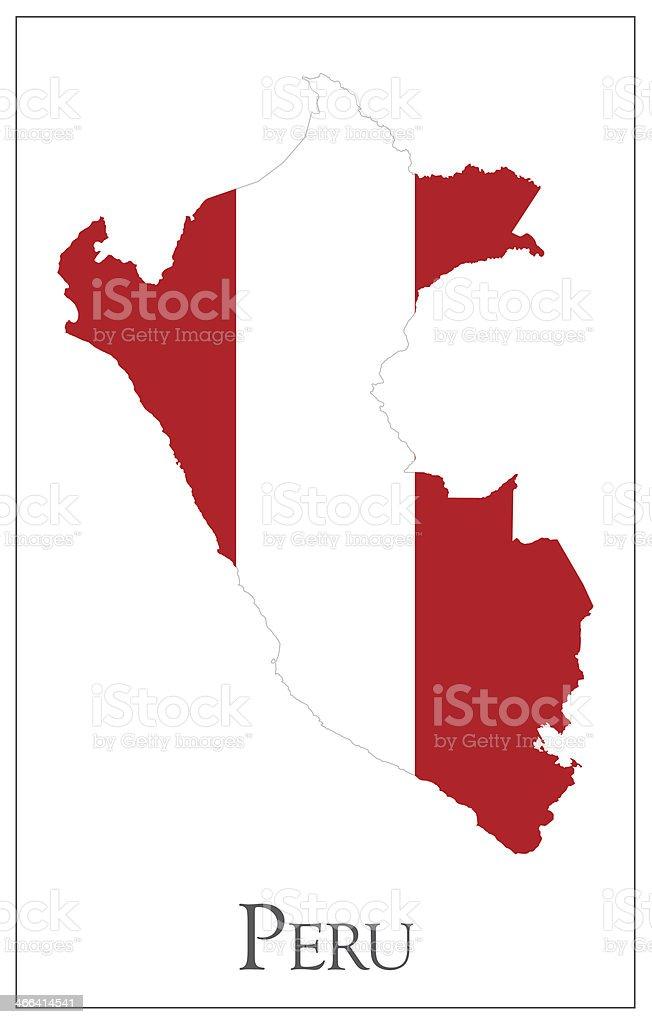 Bandera de mapa de Perú - ilustración de arte vectorial