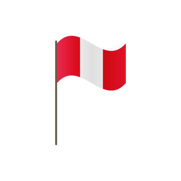 Peru-Flagge an der Fahnenstange. Offizielle Farben und Proportionen richtig. Vektor-Illustration von Peru Flagge am Fahnenmast winken, isolieren. – Vektorgrafik