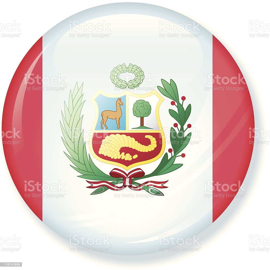 Peru Flag Super Glossy vector art illustration