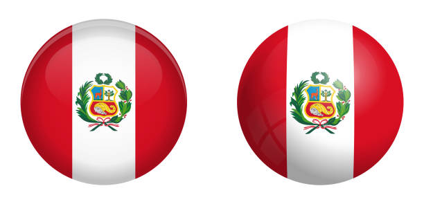 Peru Flagge unter 3D-Button Kuppel und auf glänzende Kugel / ball. – Vektorgrafik
