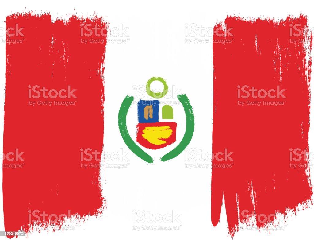 Peru-Flag Vektor handbemalt mit abgerundeten Pinsel – Vektorgrafik