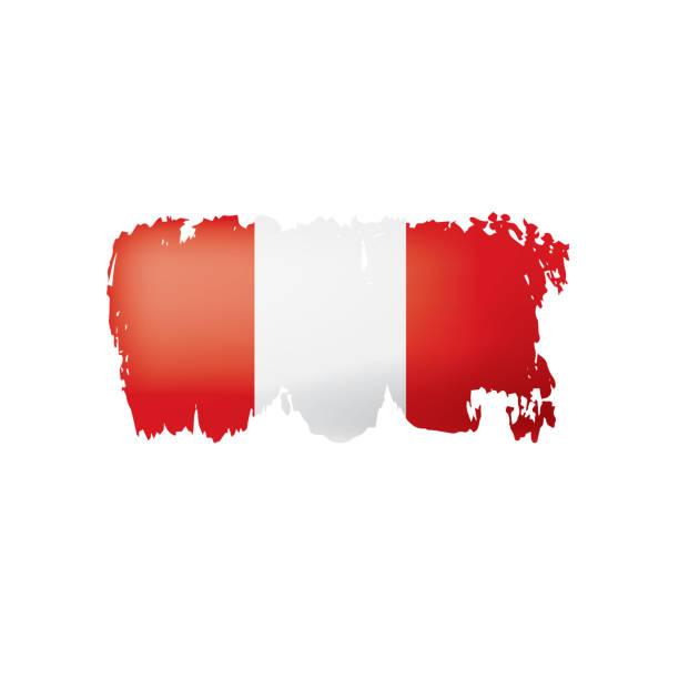 Peru-Flag, Vektor-Illustration auf einem weißen Hintergrund. – Vektorgrafik