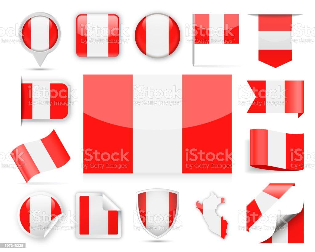 Peru-Flagge-Vektor-Set – Vektorgrafik