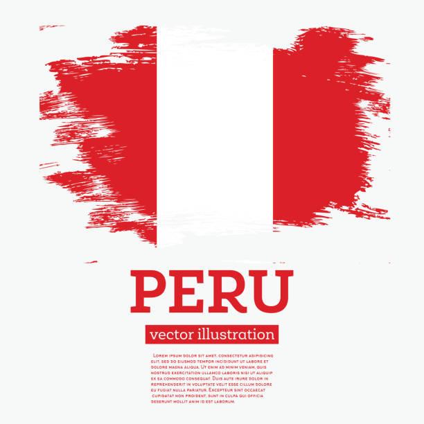 Peru-Flagge mit Pinselstrichen. – Vektorgrafik