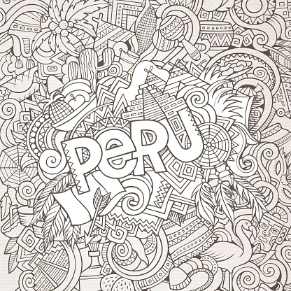 Peru hand lettering and doodles elements background