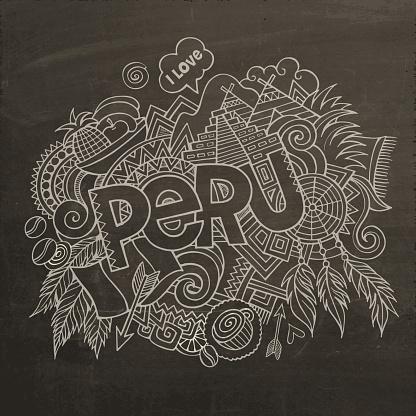 Peru hand lettering and doodles elements chalkboard background.