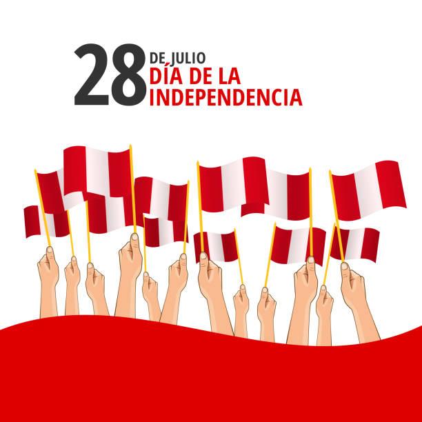ilustrações, clipart, desenhos animados e ícones de dia da independência do peru - bandeira do peru