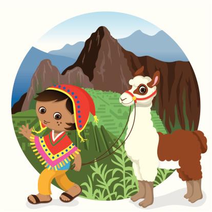 Peru Machu Picchu boy and llama