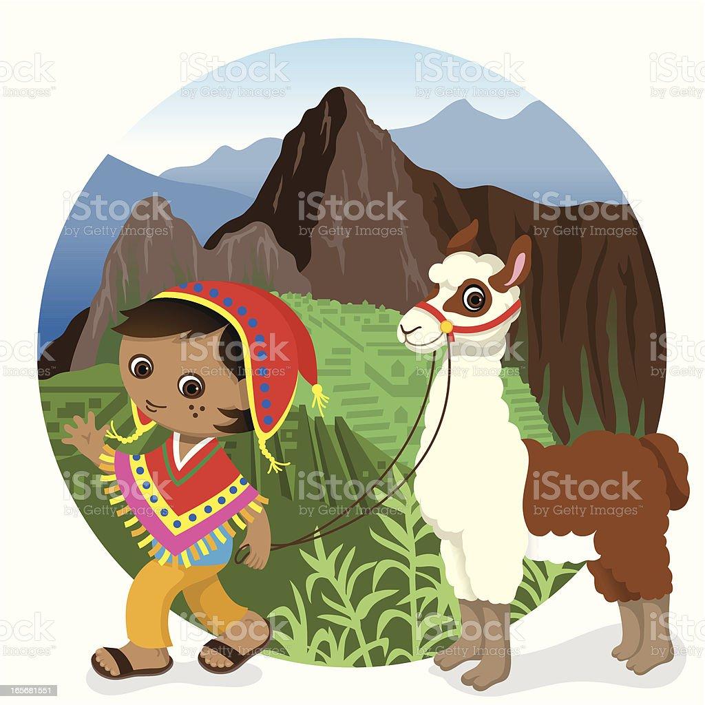 Peru Machu Picchu boy and llama vector art illustration