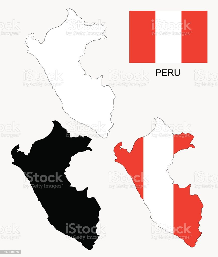 Peru map and flag vector, Peru map, Peru flag vector art illustration