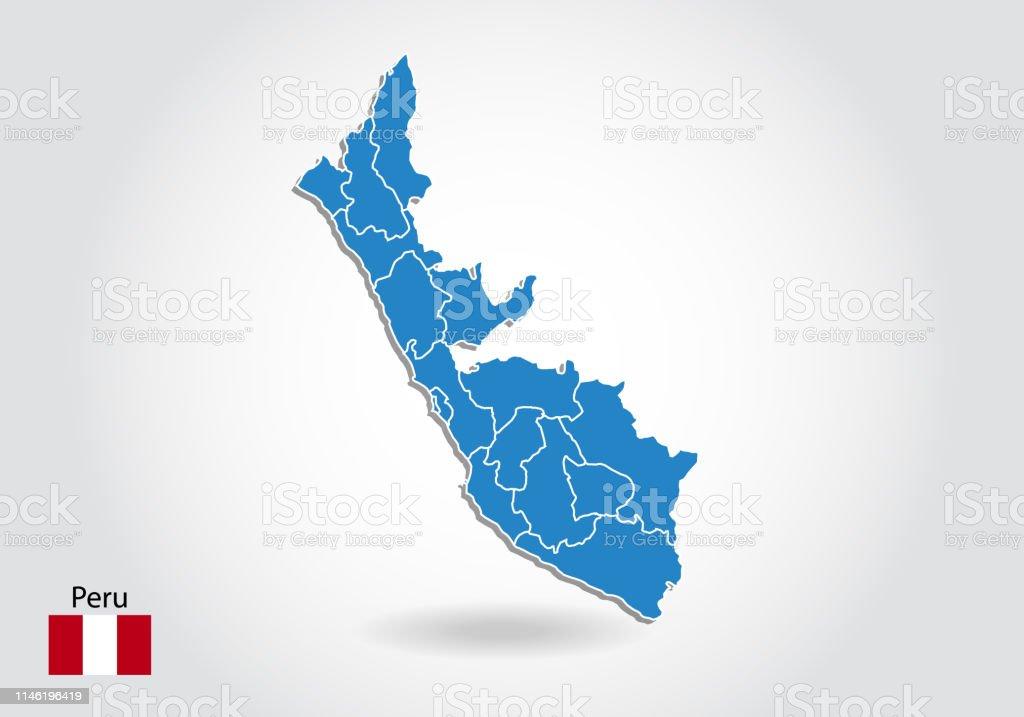 Peru Karte Umriss.Peru Karte Design Mit 3dstil Blaue Peruakarte Und