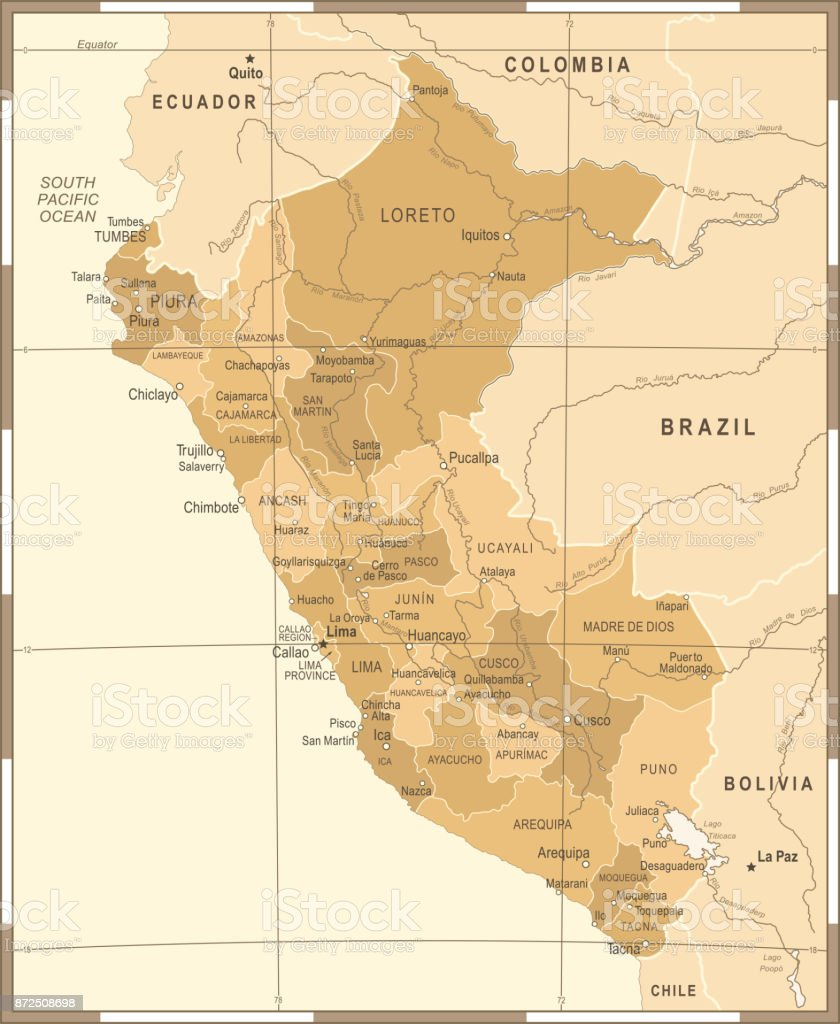 Peru Map Vintage Detailed Vector Illustration Stock Vector Art